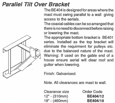 "Parallel Tilt Over Bracket with 18"" Clearance - BE404/18"