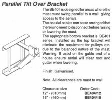 "Parallel Tilt Over Bracket with 12"" Clearance - BE404/12"
